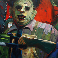 Oil painting Leatherface in Action by Angelo Mariano