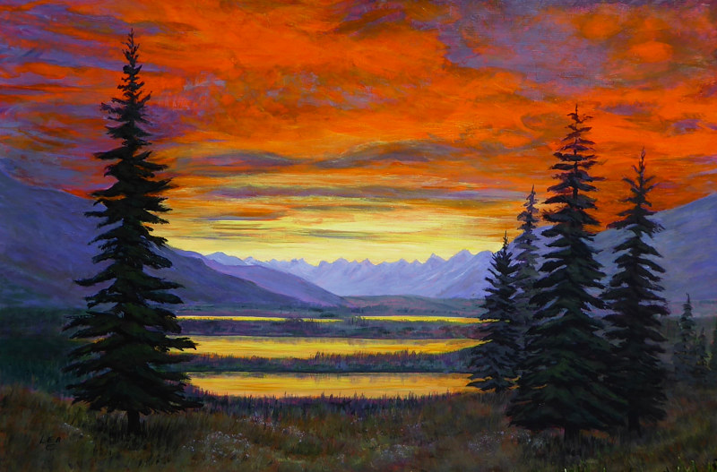 Acrylic painting Wetlands Sunset by Cecilia Lea