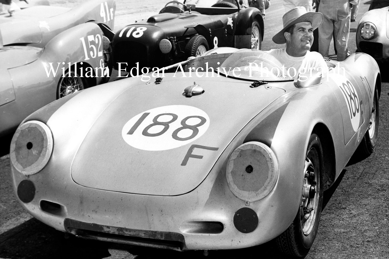 Photography [JM-PSPRG] Jack McAfee in John Edgar's Porsche 550 Spyder at Paramount Ranch races - Agoura Hills, California - August 18, 1956 by William Edgar