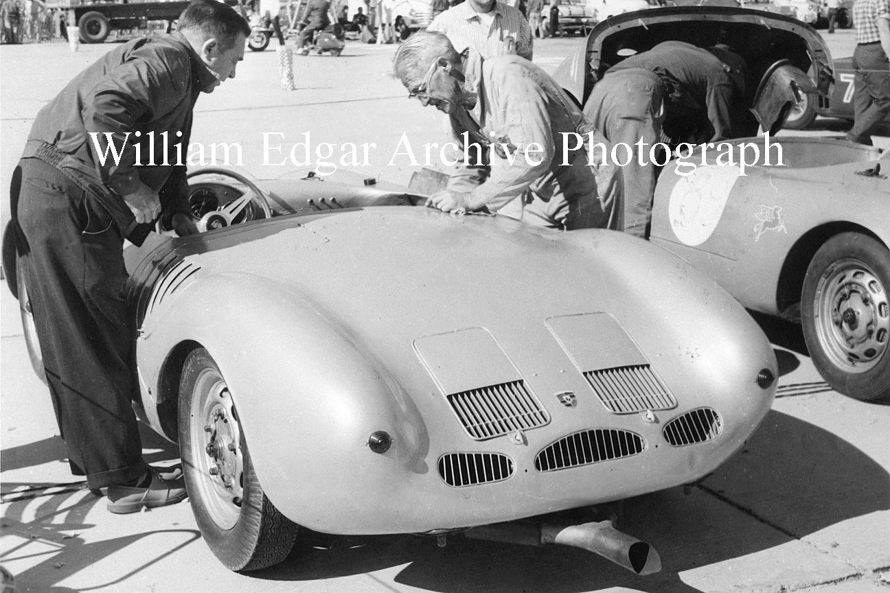Photography [RV-PSPSR]  John Edgars Le Mans Porsche 550 RS being prepped to race at Palm Springs, California - November 4 1956 by William Edgar