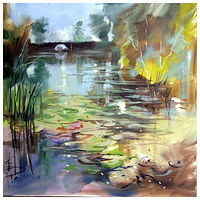 LILY PONDS 2 60x60cm oil on canvas by Anne Farrall Doyle