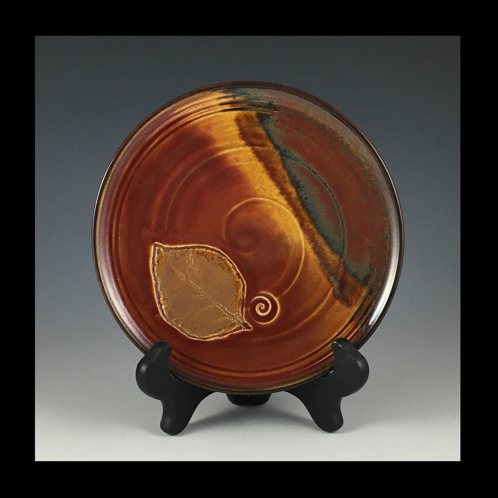 "2020 red single leaf plate 7"" by Elaine Clapper"