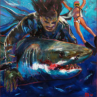 Oil painting Shark vs Zombie by Angelo Mariano