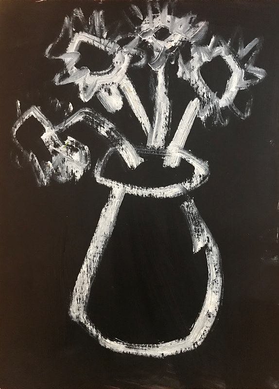 Oil painting Vase of Flowers, White on Black by Sarah Trundle
