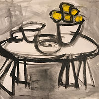 Acrylic painting Tabletop with Lemons: Black and White by Sarah Trundle