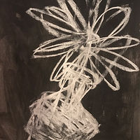 Acrylic painting Starburst: Flower in Black and White by Sarah Trundle