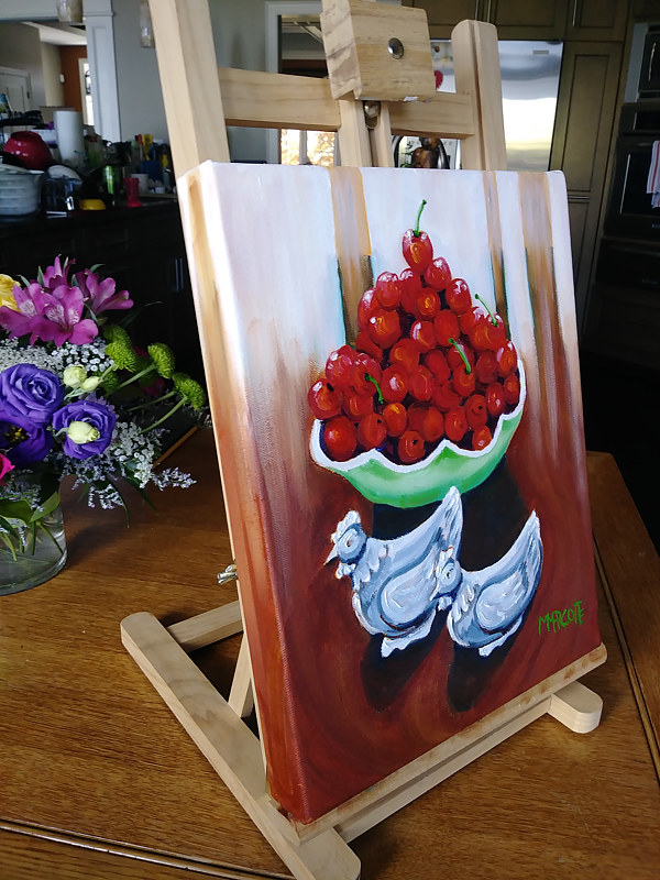 Painting Ken and I picked cherries side view by Michelle Marcotte