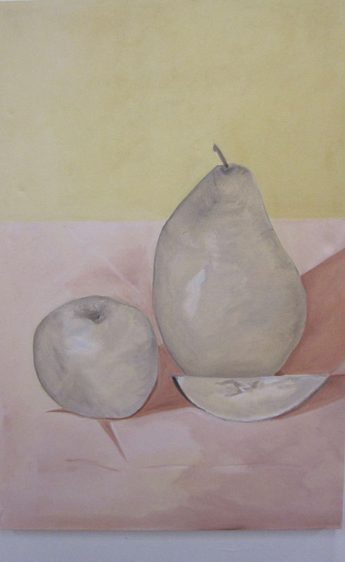 Oil painting An Apple, a Pear and a slice of Lemon by Jill  Tompkins