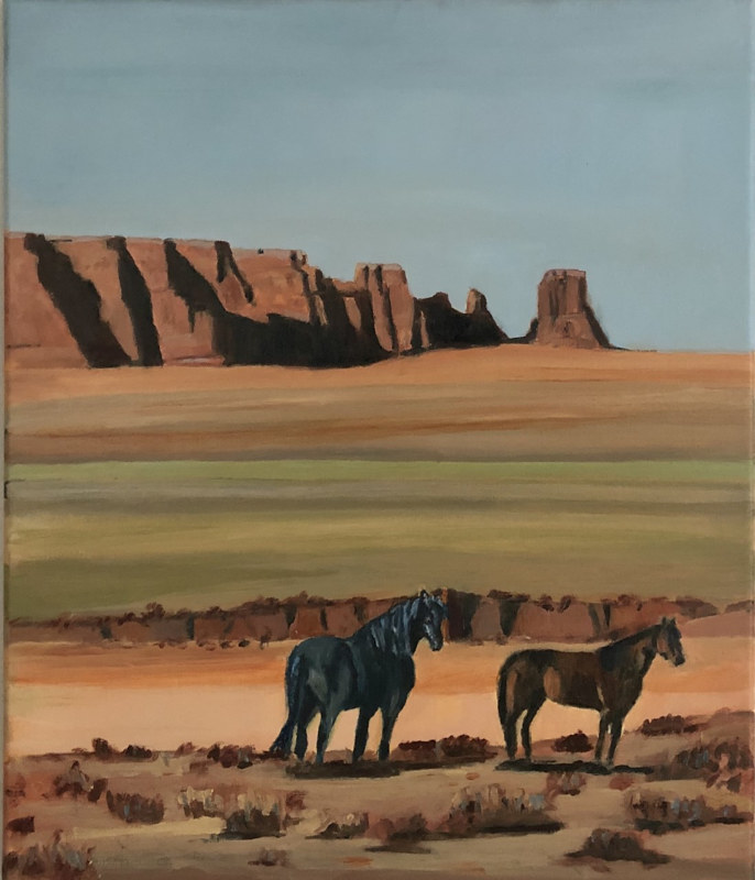 Oil painting Standing Horses by Steve Latimer