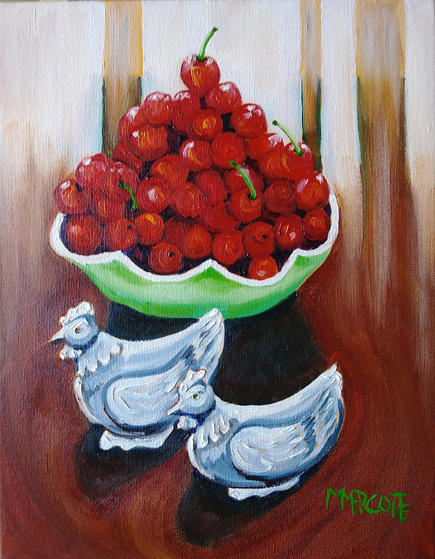 Oil painting Ken and I picked cherries in early July by Michelle Marcotte