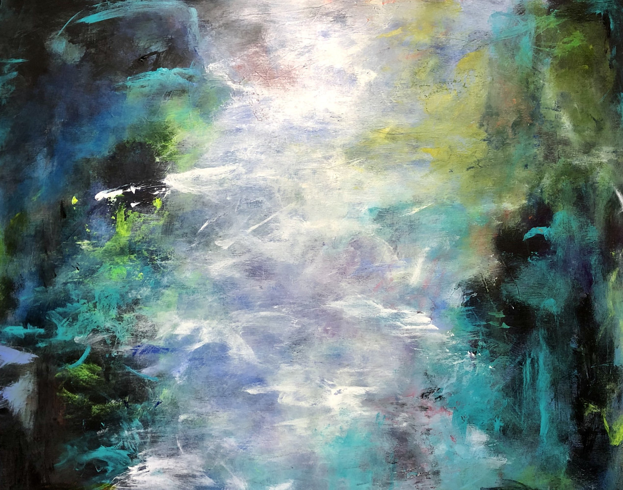 "Mixed-media artwork ""Midnight Pond"" by Mike Salcido"