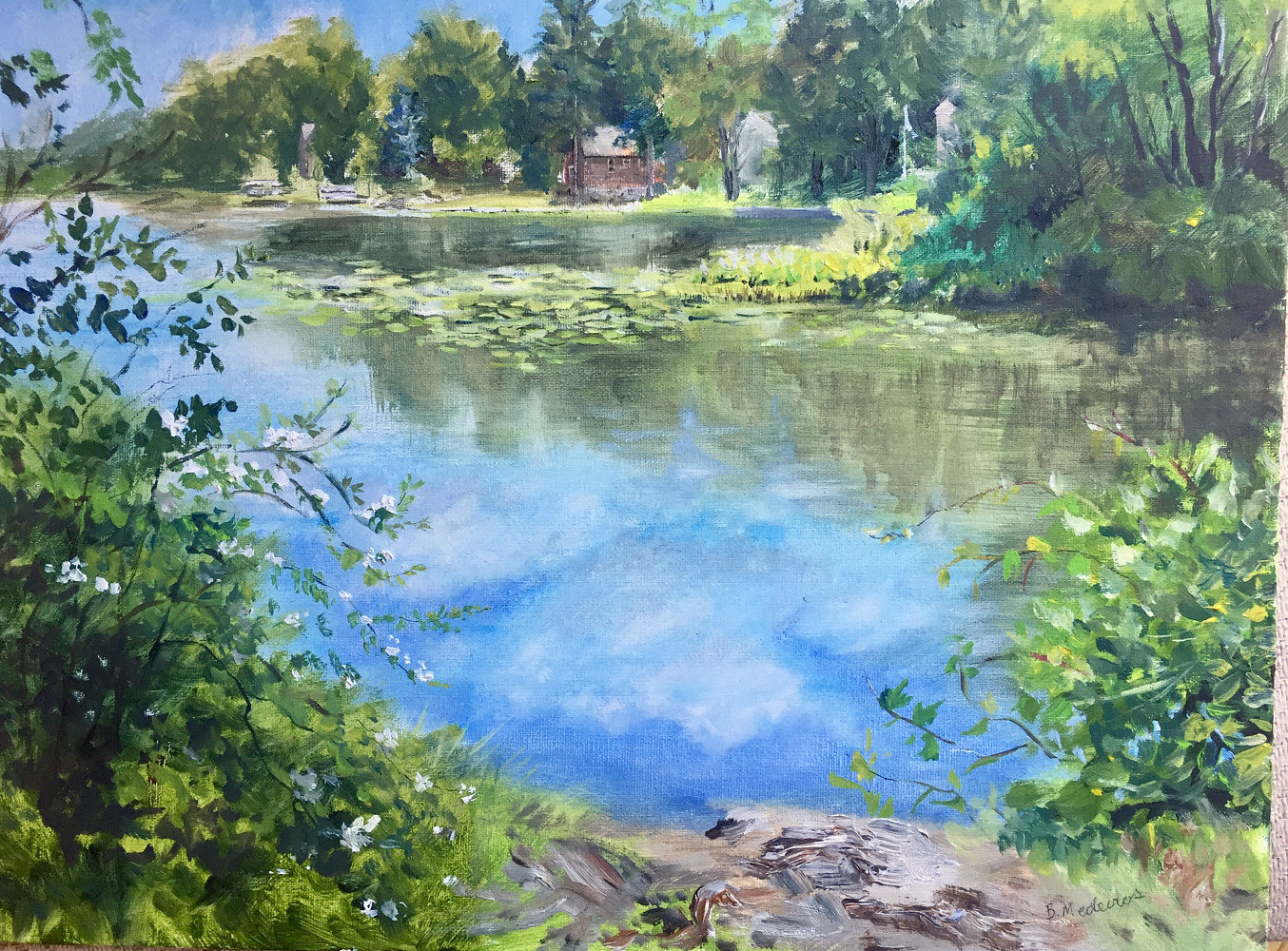 Oil painting Fishing Spot at Ball Pond, New Fairfield, CT. by Elizabeth4361 Medeiros
