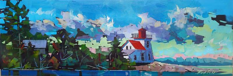 Brebeuf Lookout  Acrylic 12x36 2020 234 by Brian  Buckrell