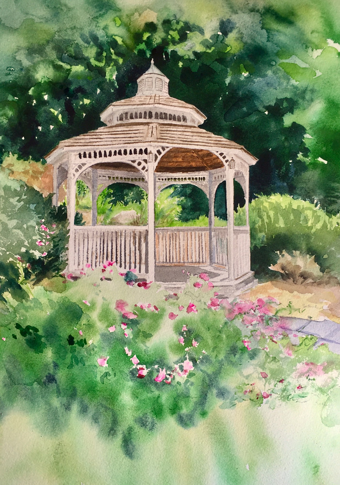 Watercolor Gazebo at Tarrywile Park and Mansion by Elizabeth4361 Medeiros