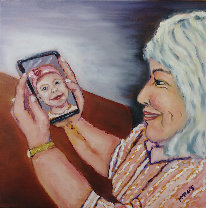 Oil painting Grandmothering in the time of Corona Virus by Michelle Marcotte