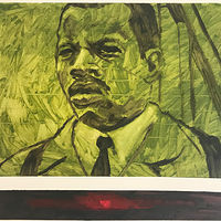 John Lewis oilsketch in green by Edward Miller