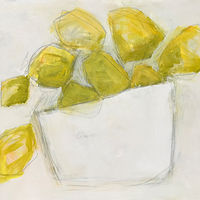 Acrylic painting Lemons on White, II by Sarah Trundle