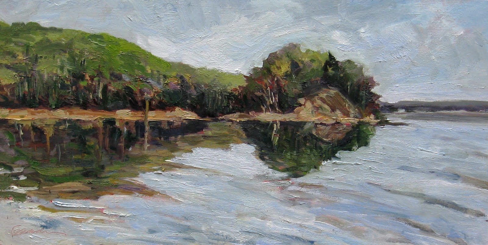 Oil painting Michael Gaudreau The Peninsula  12x24in by Michael Gaudreau