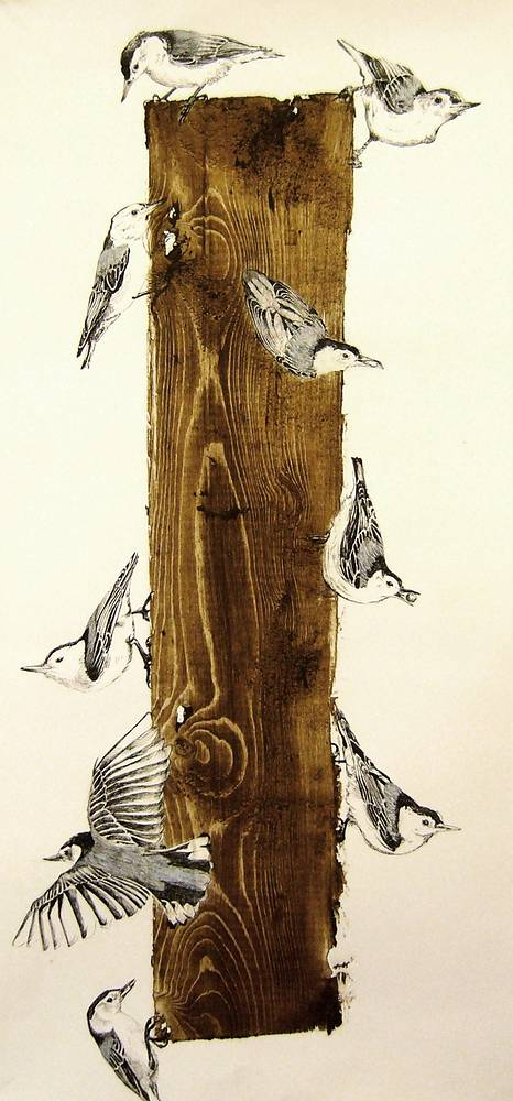 Print Reclaimed Tree with Nuthatches by Nicole Walters