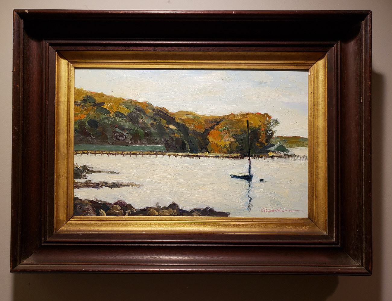Painting severn fall with antique frame by Michael Gaudreau
