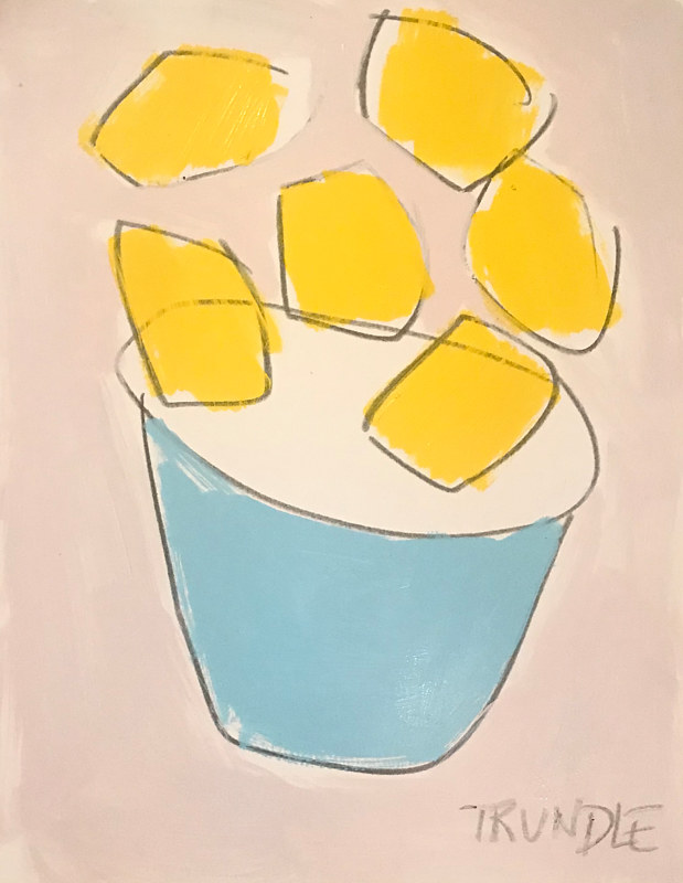Acrylic painting Lemons in Turquoise Bowl by Sarah Trundle