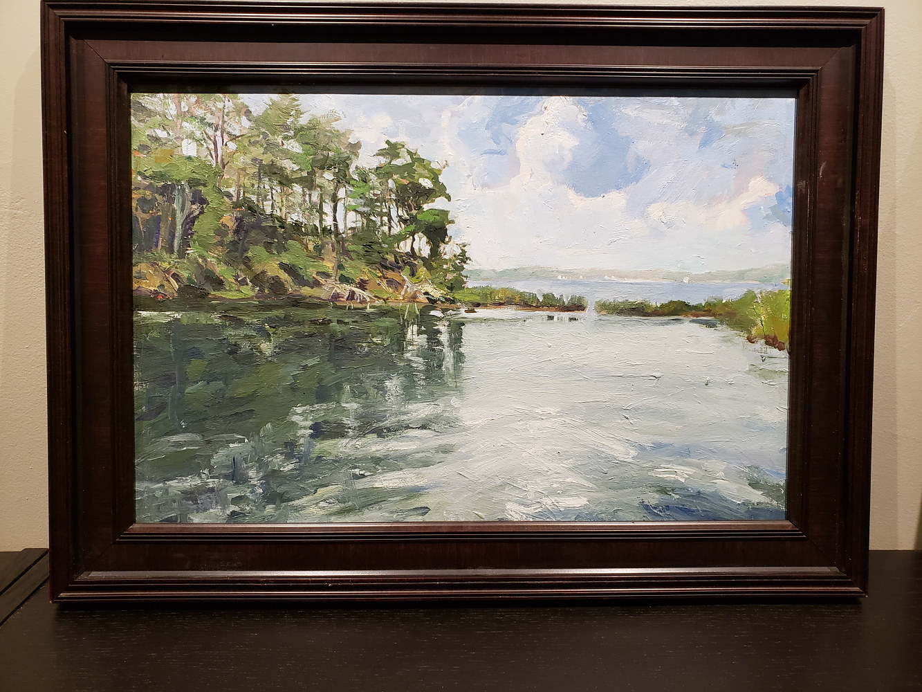 Painting Brewers pond w frame by Michael Gaudreau