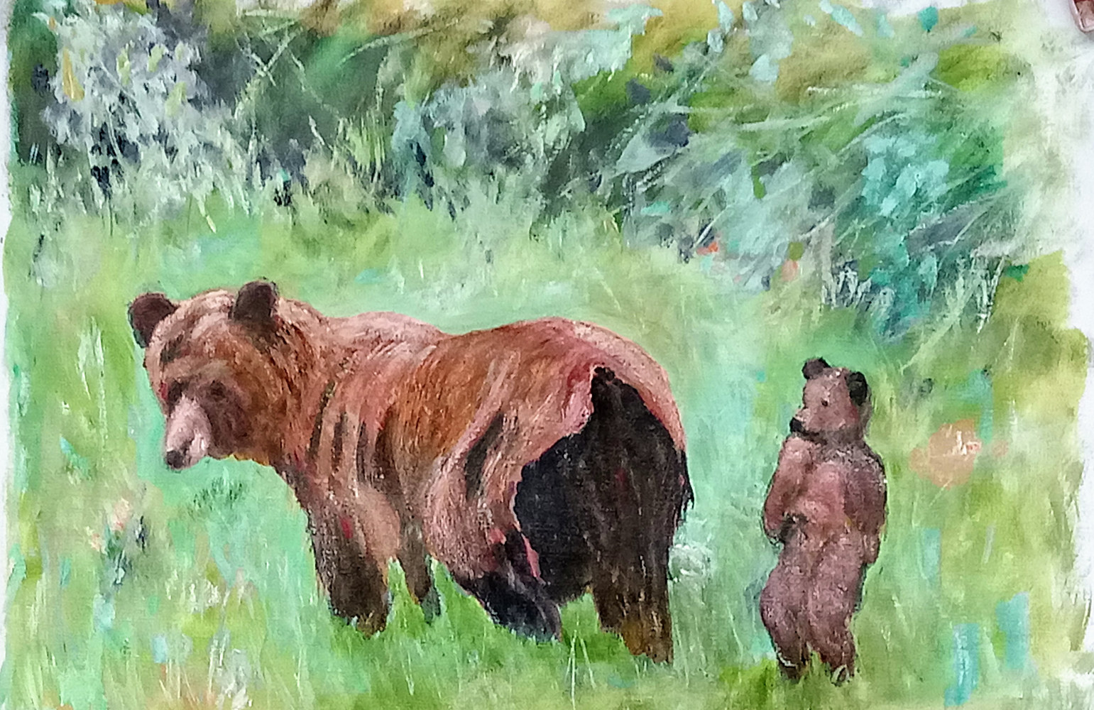 Oil painting Mother Bear with her Cub by Gwenda Branjerdporn