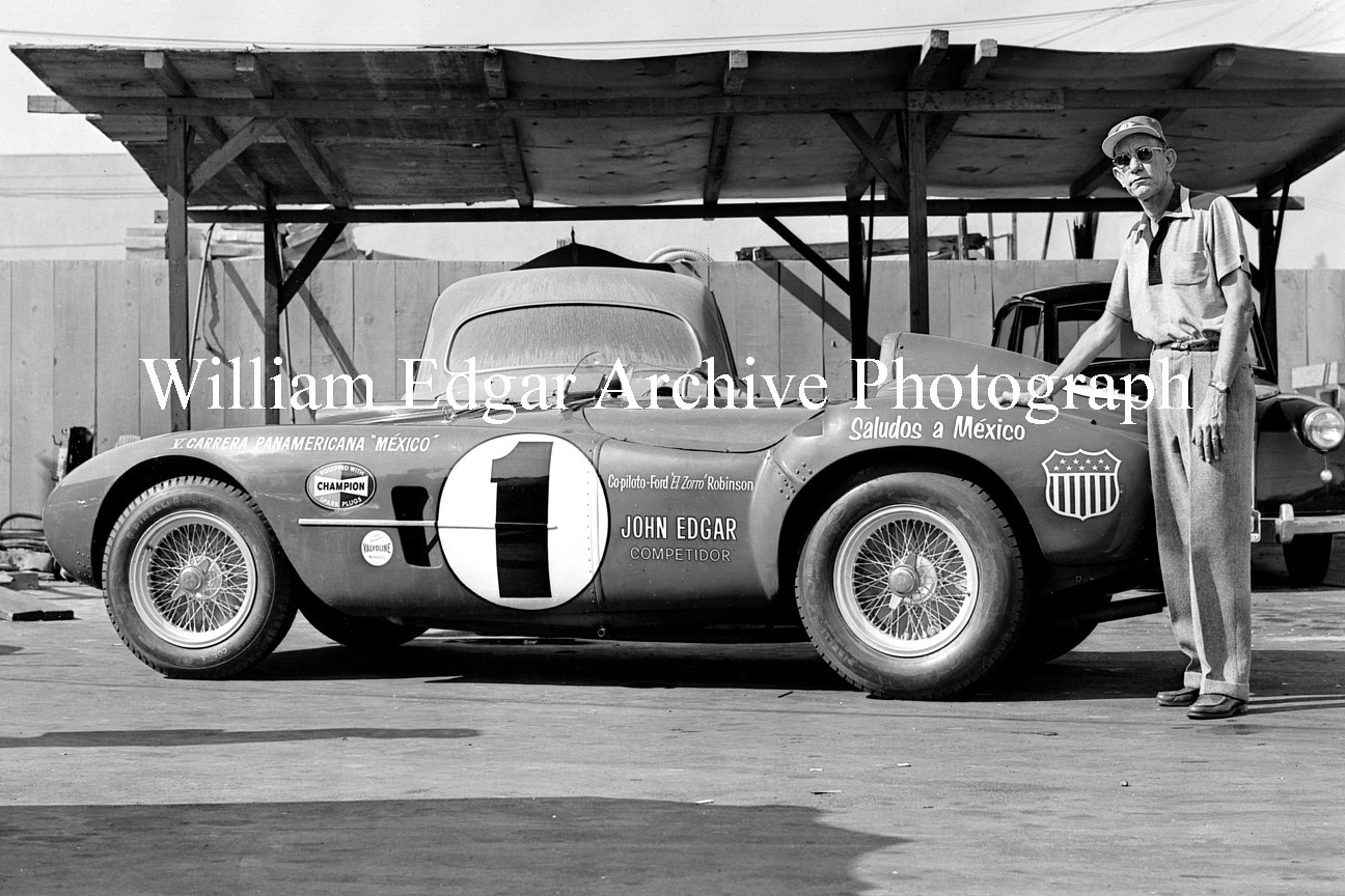 Photography [RI-EFMN4] John Edgar with his ex-Le Mans winning Ferrari 375 Plus prepared for 1954's Carerra Panamericana - Los Angeles - November 8, 1954   by William Edgar
