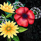 Mixed Flowers on Black by Valerie Lesiak