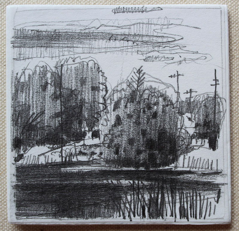 Drawing Garden Hill Pond by Harry Stooshinoff