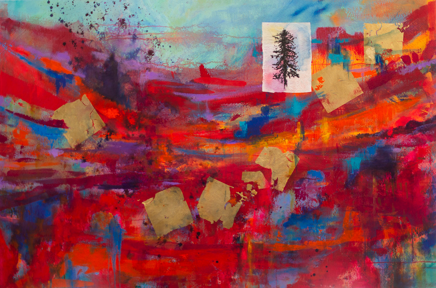 "Acrylic painting Inside a Tree on a Summer Day 40""X 60"" by Skai Fowler"