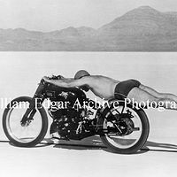 Photography [VH-RFRR8] Rollie Free on a record-breaking run with John Edgar's JEL Vincent HRD at the Bonneville Salt Flats  - September 13, 1948  by William Edgar