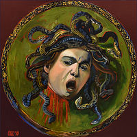 Oil painting Testa di Medusa (after Caravaggio) by Angelo Mariano