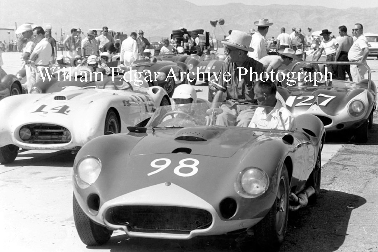 Photography [CS-SELM8] Carroll Shelby in the Edgar team's 450S Maserati with John Edgar (center) and Joe Landaker at Palm Springs - April 12, 1958 by William Edgar