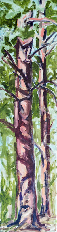(c) 2017 Lully Schwartz 'Farmland Trees' oil on canvas 12 x 48 inches by Lully Schwartz