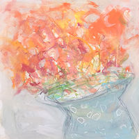Acrylic painting Orange Blooms by Sarah Trundle