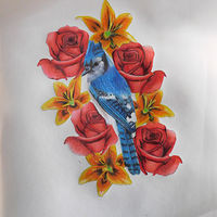 Drawing Bluejay in a nest of flowers by Matt Kantor