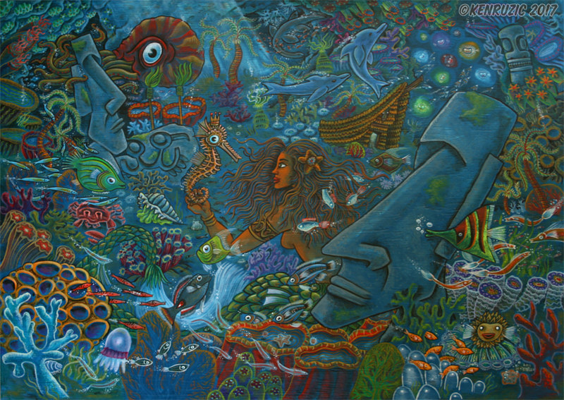 Painting 11 Land of the mermaids (Seahorse) by Kenneth M Ruzic
