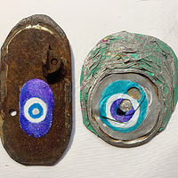 Acrylic painting Evil Eye Amulets by Julie Gladstone