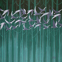 Acrylic painting A Bevy of Birds by Louise Hall by Passionate Painters
