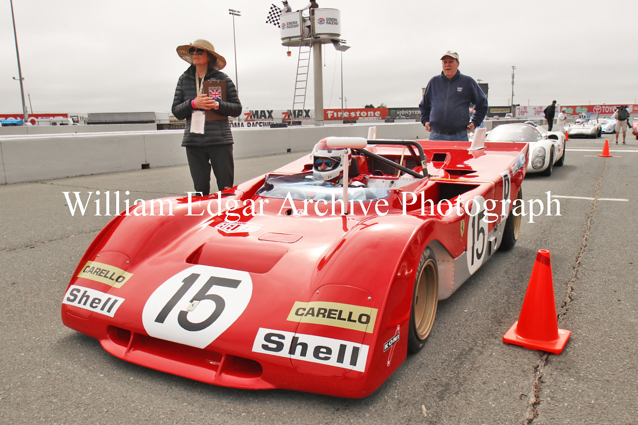 Photography [CC-PBGSS] 1971 Ferrari 312PB s/n 0880 at Sonoma Speed Festival with owner-driver Ernie Prisbe and wife Margaret – May 31, 2019 by William Edgar