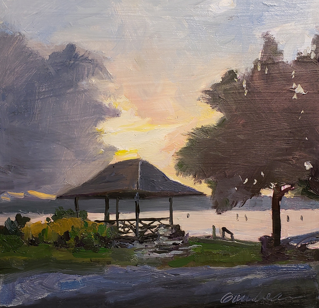Pagoda on the Severn 10x10in oil by Michael Gaudreau