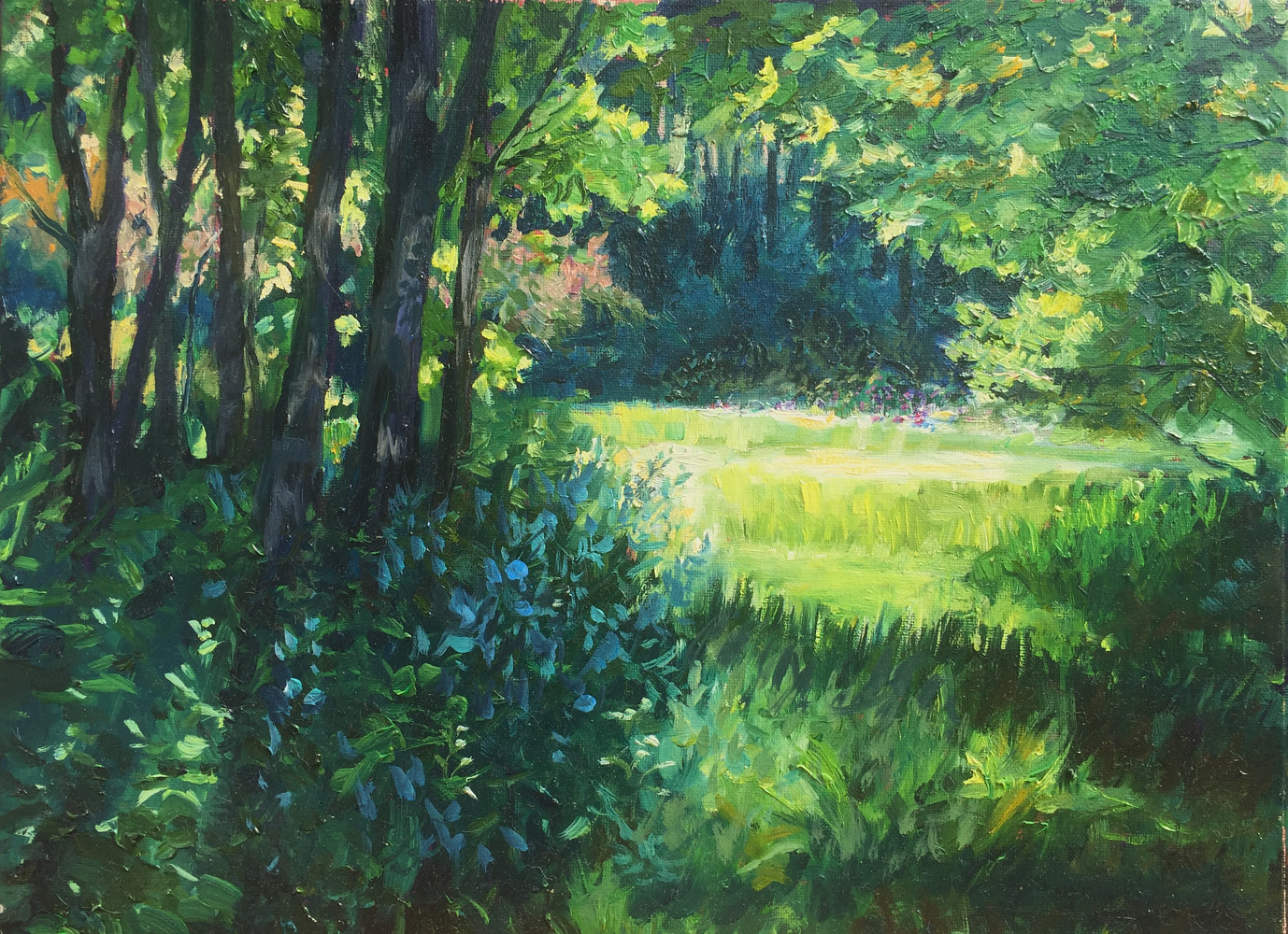 Oil painting Through the Trees by Elizabeth4361 Medeiros