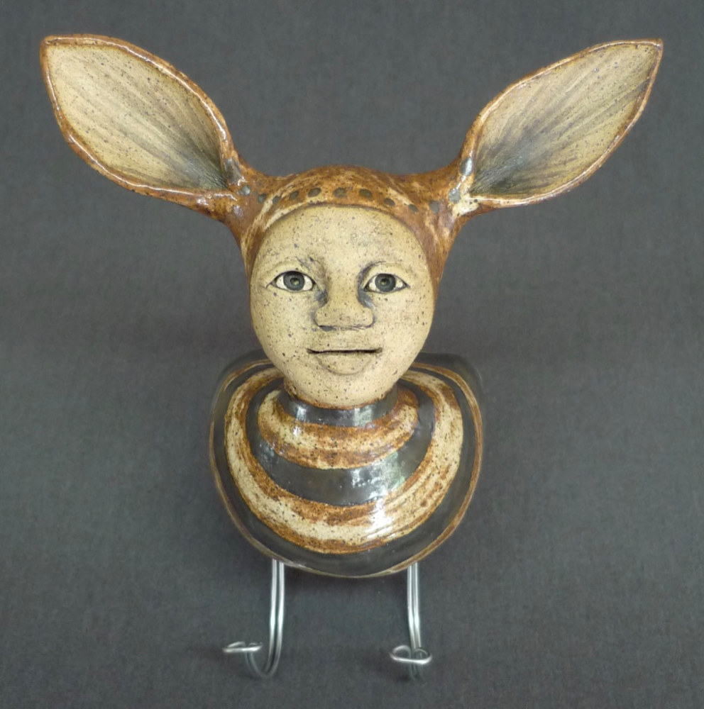 Key Holder with Ears and Brown Stripes by Leanne Schnepp