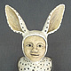 Key Holder White with Ears and Spot by Leanne Schnepp