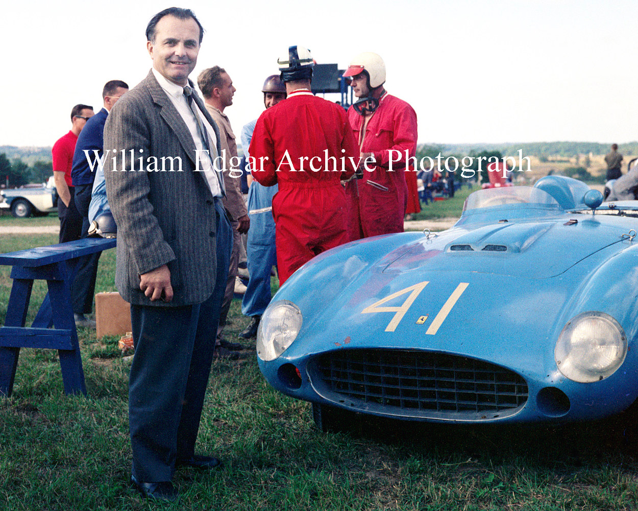 "Photography [RI-LCRA7] Luigi Chinetti with Phil Hill's practice Ferrari at Wisconsin's Road America ""500"" - September 7, 1957 by William Edgar"