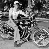 Photography [VH-JESH1] John Edgar on his Vincent HRD Black Lightning before taking it to Bonneville - Spetember 7, 1948 by William Edgar
