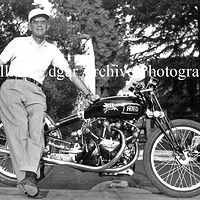 Photography [VH-JESH2] John Edgar on his Vincent HRD Black Lightning before taking it to Bonneville - Spetember 7, 1948 by William Edgar