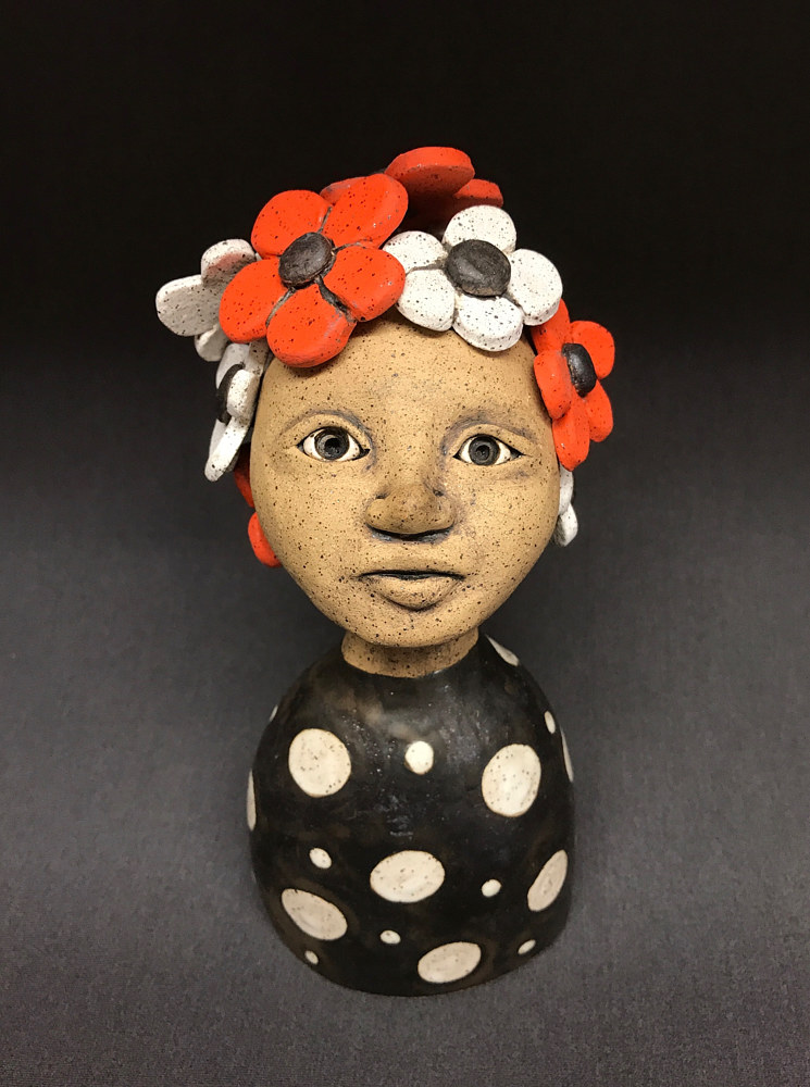 Mini Bust with Orange and White Flower by Leanne Schnepp