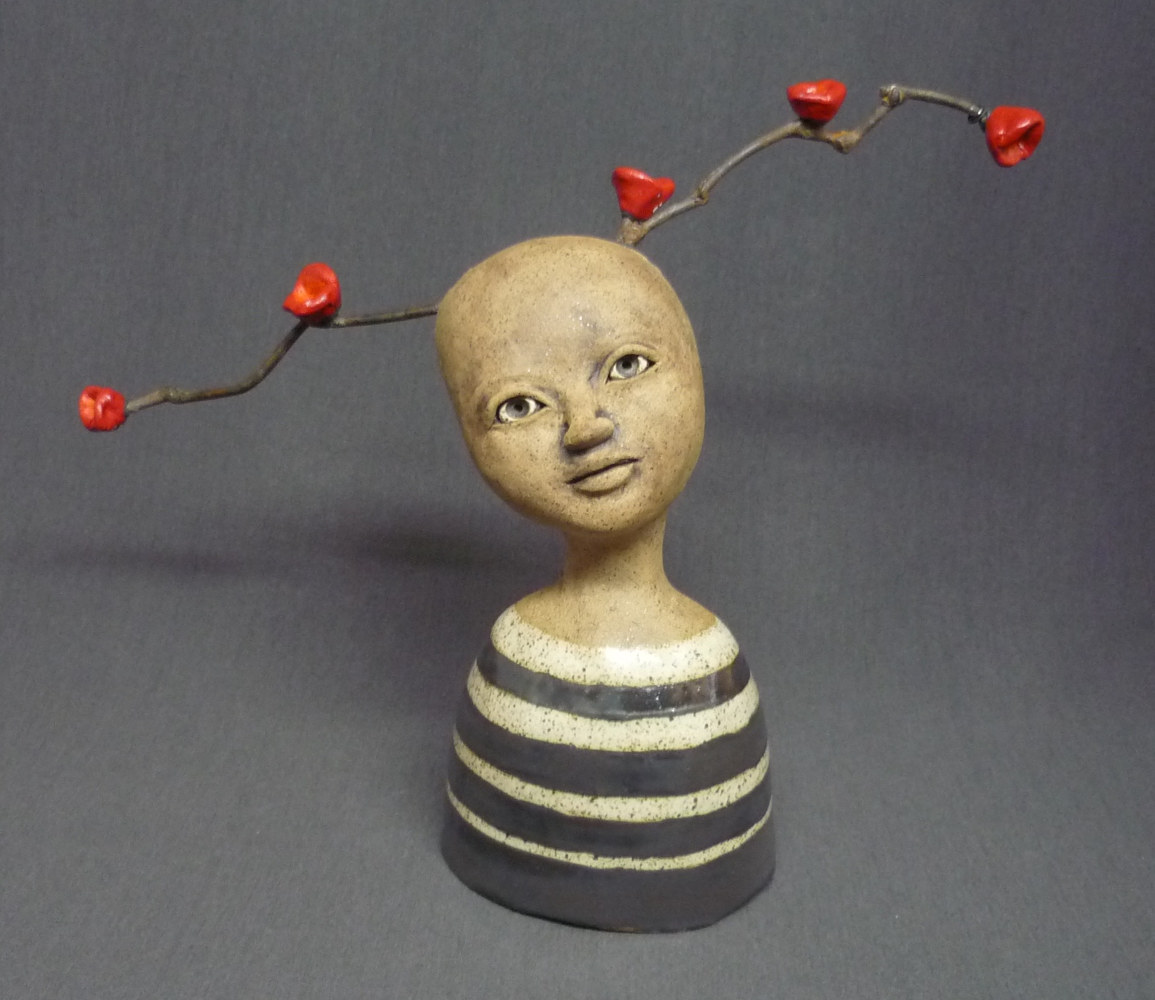 Mini Bust with Stripes and Red Flowers by Leanne Schnepp